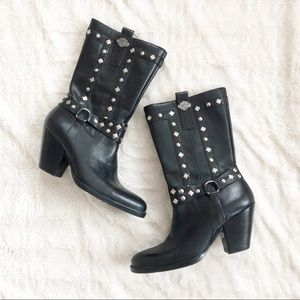 Harley Davidson Studded Leather Black Boots 5.5